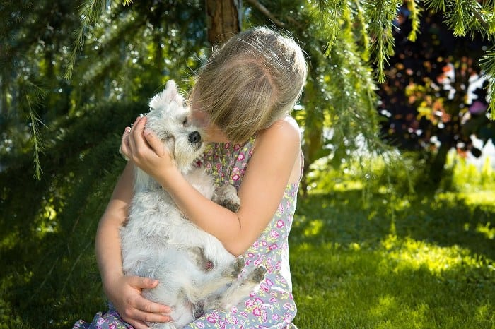 Young Girl Cuddling Small Dog