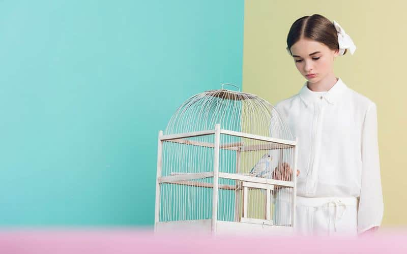 bird in a bird cage with young girl standing next to it